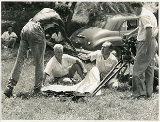 Jedda - Robert Tudawali with Bill Harney  and Charles Chauvel prior to the filming of Jedda.