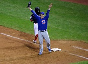 2016 Chicago Cubs season - Anthony Rizzo after catching the final out of the World Series