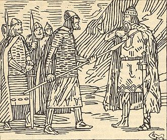 Finn Árnasson - Finn Arnesson confronting Thorir Hund  illustration by Gerhard Munthe