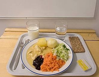 School meal - A typical Finnish school lunch served free of charge to all pupils.