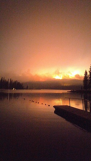 2017 Montana wildfires - Image: Fire from Seeley Lake