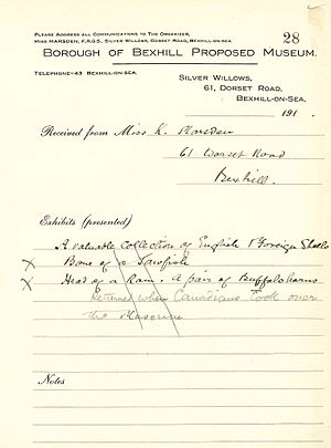 Bexhill Museum - First Accession Register of Bexhill Museum by Kate Marsden - note it is c/o her address.
