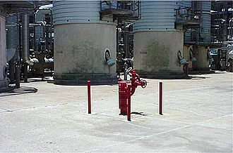 Deluge gun - Fixed fire monitor at a plastic manufacturing factory