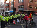 Fleet Street police barricade during public sector pensions strike in November 2011.jpg
