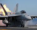 Flickr - DVIDSHUB - Super Hornet Fires Off USS Abraham Lincoln Flight Deck.jpg