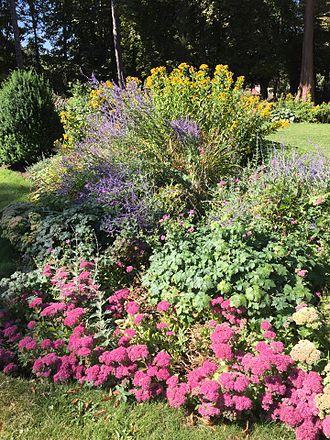 Wardown Park - Wardown Park, Luton flower beds outside the museum