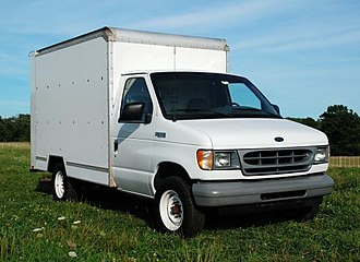 Cutaway van chassis - This Ford cutaway van chassis has a delivery truck body typical of that used in truck rental fleets.