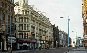 Royal Avenue, Belfast - The former Grand Central Hotel, which was converted into a British Army barracks in 1972, was the site of many bombing attacks during The Troubles.