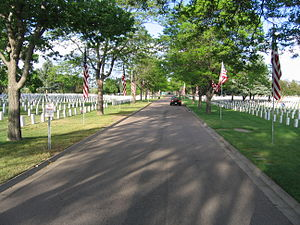 Fort Logan National Cemetery - A street in Fort Logan National Cemetery during Memorial Day weekend