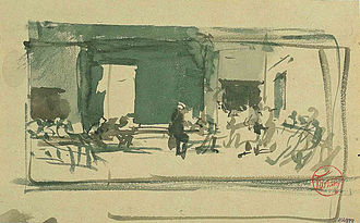 "The Spanish Wedding - Image: Fortuny Watercolor Sketch for ""The Spanish Wedding"""
