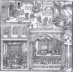 """An illustration from a 1563 edition of Foxe's Book of Martyrs depicts """"The Temple well purged,"""" """"Burning of images"""", and """"the Papists packing away their paltry."""""""
