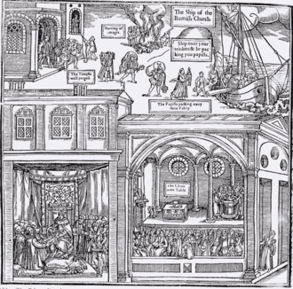 Aniconism in Christianity - Woodcut of 1563 from the Protestant Foxe's Book of Martyrs showing the destruction of Catholic images