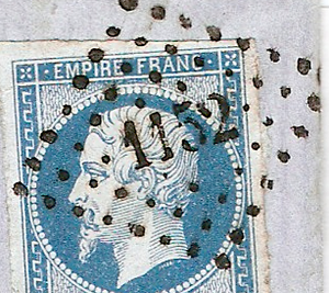 """Coded postal obliterators - Detail of a French stamp of 1854 cancelled with a """"losange à petits chiffres"""" number 1152. This number was assigned to Dunkerque."""