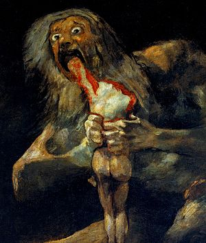 Black Paintings - Saturn Devouring His Son (detail), possibly the most famous of the Black Paintings