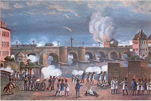 Grand Duchy of Frankfurt - Battle of the Frankfurt Bridge between Austrian/Bavarian and French troops, 1813. Gouache by an unknown artist, Historical Museum, Frankfurt.