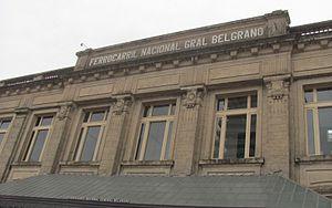 Santa Fe (Belgrano) railway station - Upper facade of Santa Fe building in 2013.