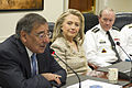 From left, Secretary of Defense Leon E. Panetta, Secretary of State Hillary Rodham Clinton and Chairman of the Joint Chiefs of Staff Army Gen. Martin E. Dempsey attend a meeting at the Pentagon with senior 120515-D-BW835-032.jpg