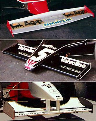 Downforce - Three different styles of front wings from three different Formula One eras, all designed to produce downforce at the front end of the respective race cars. Top to bottom: Ferrari 312 (1979), Lotus 79 (1978), McLaren MP4-11 (1996)