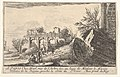 Frontispiece- a man reaches toward a fallen column, a seated man beside him, trees and ruins beyond, from the series 'Views of Italy' (Vues d'Italie) MET DP834136.jpg