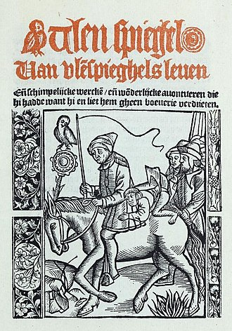 Till Eulenspiegel - Frontispiece of first Dutch language Ulenspieghel, printed by Michiel Hillen van Hoochstraten, 1525-1546