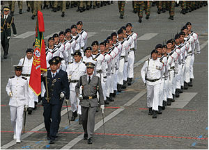 Portuguese Armed Forces - Portuguese tri-service color guard, leading a Fuzileiros detachment