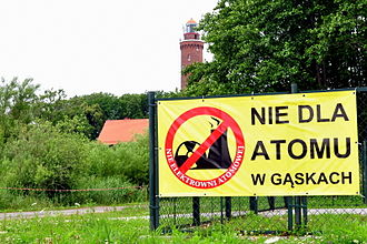 Gąski, Koszalin County - Banner in Gąski displayed by inhabitants who oppose plans of NPP construction (July 2012)