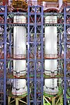 GSLV Mk III D2 S200 solid boosters stand fully integrated in Solid Stage Assembly Building SSAB.jpg