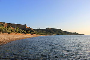 Landing at Anzac Cove - North Beach (north of Anzac Cove) looking south, Gallipoli, in 2014