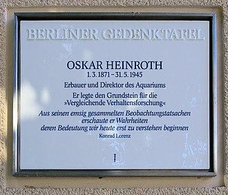 Oskar Heinroth - Commemorative plaque in Berlin