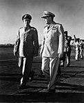 General Omar Bradley and Admiral Arthur Radford at Hickam Field in Hawaii.jpg