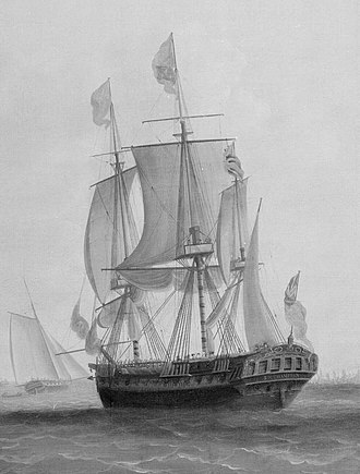 HMS Southampton (1757) - Image: George III in HMS Southampton reviewing the fleet off Plymouth, 18 August 1789 (detail) RMG B6883 (cropped)