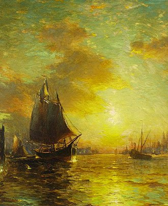 Mary Celeste - A painting by George McCord of New York harbor in the 19th century