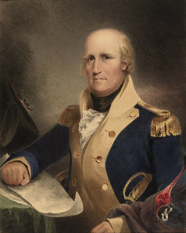 Painting of the head and shoulders of an older, gray-haired, balding man in a colonial-era military uniform (blue jacket with white lapels and gold epaullettes)
