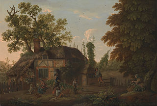Hop Pickers Outside a Cottage