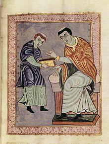 Widmungsbild aus dem Gero-Codex (aus Wikipedia, gemeinfrei): Der Mönch Anno aus dem Skriptorium des Klosters Reichenau übergibt einen fertigen Kodex an den Auftraggeber