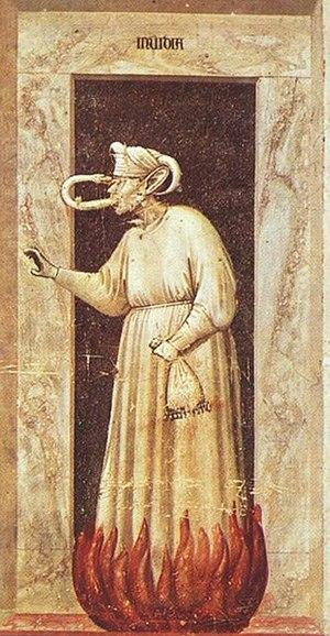 Envy - Invidia, allegorical painting by Giotto di Bondone, ca. 1305-1306