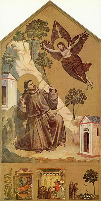 Saint Francis Receiving the Stigmata (van Eyck) - Giotto, Saint Francis Receiving the Stigmata, c. 1295–1300. Louvre, Paris