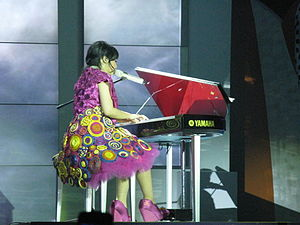Gita Gutawa - Gutawa playing the piano in the Kotak Musik Gita Gutawa concert, 2008