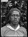 Glass negative (black and white); portrait of a man, in front of a bush, wearing a striped shirt and a piece of cloth tied around his neck; Tonga. Photographic process. Oc,G.N.1621, British Museum.jpg