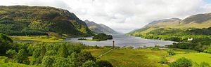 Glenfinnan. Loch Shiel and the memorial to the...