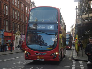 London Buses route 19 - London General Wright Eclipse Gemini 2 bodied Volvo B9TL on Shaftesbury Avenue in December 2013