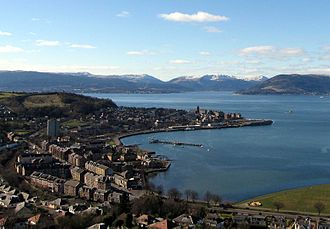 Gourock - View from Lyle Hill over Cardwell Bay and Gourock Bay to the pierhead