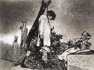 Death and culture - Etching of a hanging by Francisco Goya.
