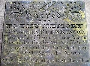 John Blenkinsop - Image: Gravestone detail of John Blenkinsop geograph.org.uk 1294565