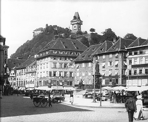 Graz Hauptplatz - Blick zum Schloßberg - 1915