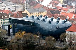 Graz Kunsthaus vom Schlossberg 20061126