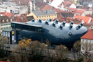 Kunsthaus Graz - View of the Kunsthaus Graz from the Schlossberg