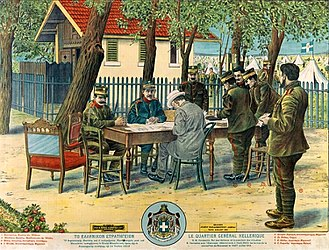 Ioannis Metaxas - Greek lithograph during the Balkan Wars depicting Metaxas (at the back of the table) with King Constantine, PM Venizelos and other officers at the HQs of the Army