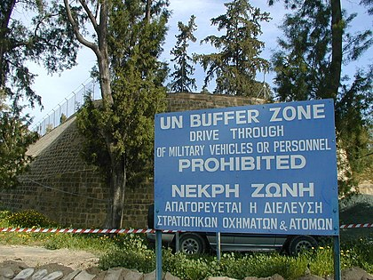 UN Buffer Zone in Cyprus was established in 1974 following the Turkish invasion of Cyprus. GreenLine BufferZone Large.JPG