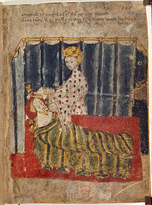 Green Knight's wife and Gawain - Sir Gawain and the Green Knight (c.1400-1410), f.129 - BL Cotton MS Nero A X